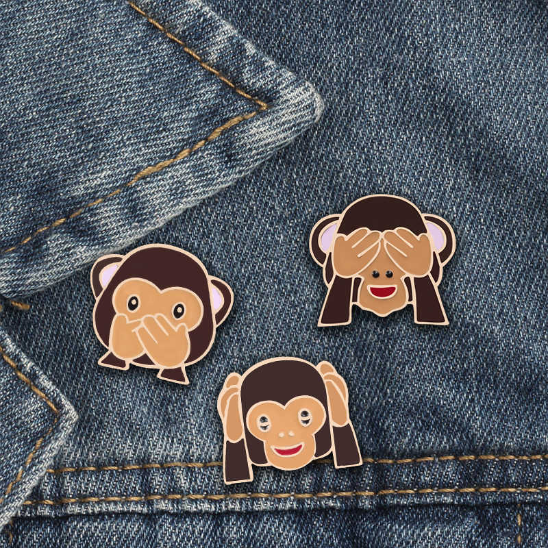 3pcs/Set Cute Cartoon Monkey Brooches Creative Cover Eyes Ears Pout Enamel Pins Backpack Metal Badge Jackets Lapel Pin Jewelry