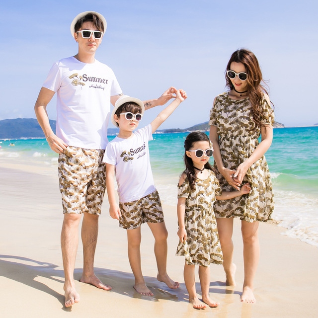 f1bd770e5f 2018 Sale New Beach Family Matching Outfit Cotton Mother/mom And Daughter  Dress Clothes Father Son Clothing Sets Style Set 3xl