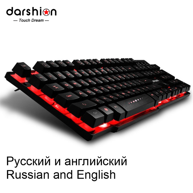 Russian / English Backlight Gaming Keyboard 3 Color Transformation USB wired  Floating LED Backlit  for Desktop Laptop  1