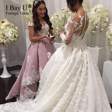 White Lace Appliques Pink Satin Bridesmaid Prom Dress