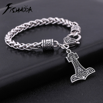 Best Price  Fishhook 2018 News Fishhook shape Nordic Engrave knot  Zinc Alloy Antique Silver Plated Lobster Clasp Link Chain Bracelet