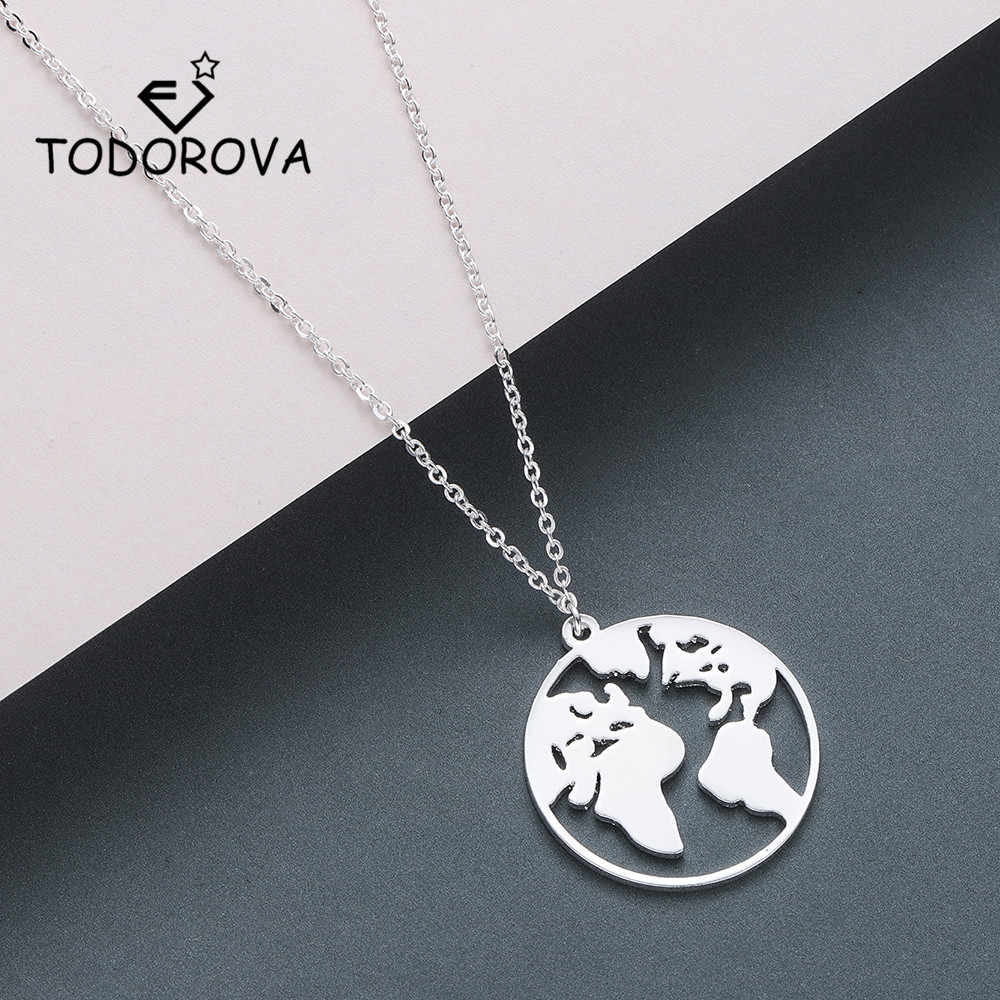 Todorova Stainless Steel Globe World Map Pendant Necklace Women Earth Day Gifts for Men Wanderlust Travel Lover Jewelry