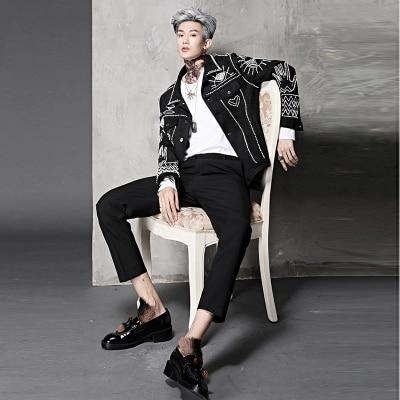 Mens Black Full Artifical Pearl Beading Punk Style Baroque Stage Performance/stuido Tuxedo Jacket ,only Jacket