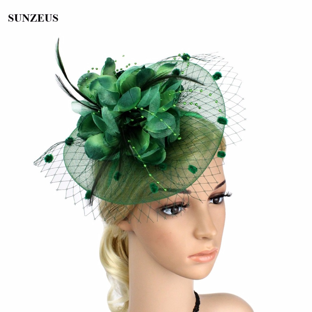 Beautiful Fascinator Wedding Bridal Party Hair Accessories New Arrival Feather Net Flower Bridal Hats Wholsesale Sqn033