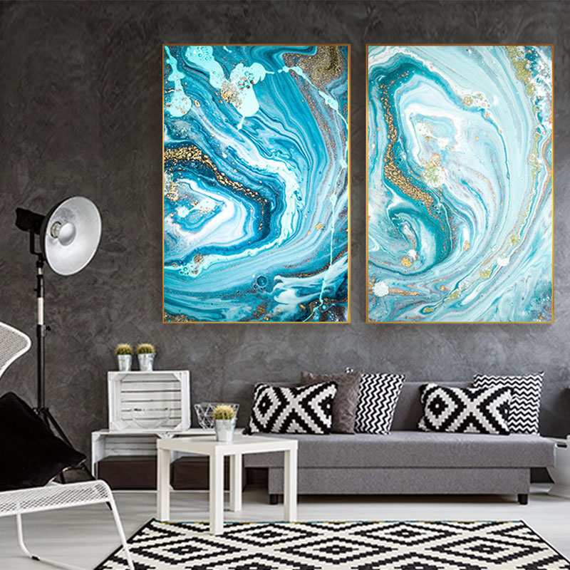 Modern Abstract Green Blue Wall Art Cuadro Fashion Gold Foil Nordic Canvas Painting Living Room Big Print Poster Tableaux Salon