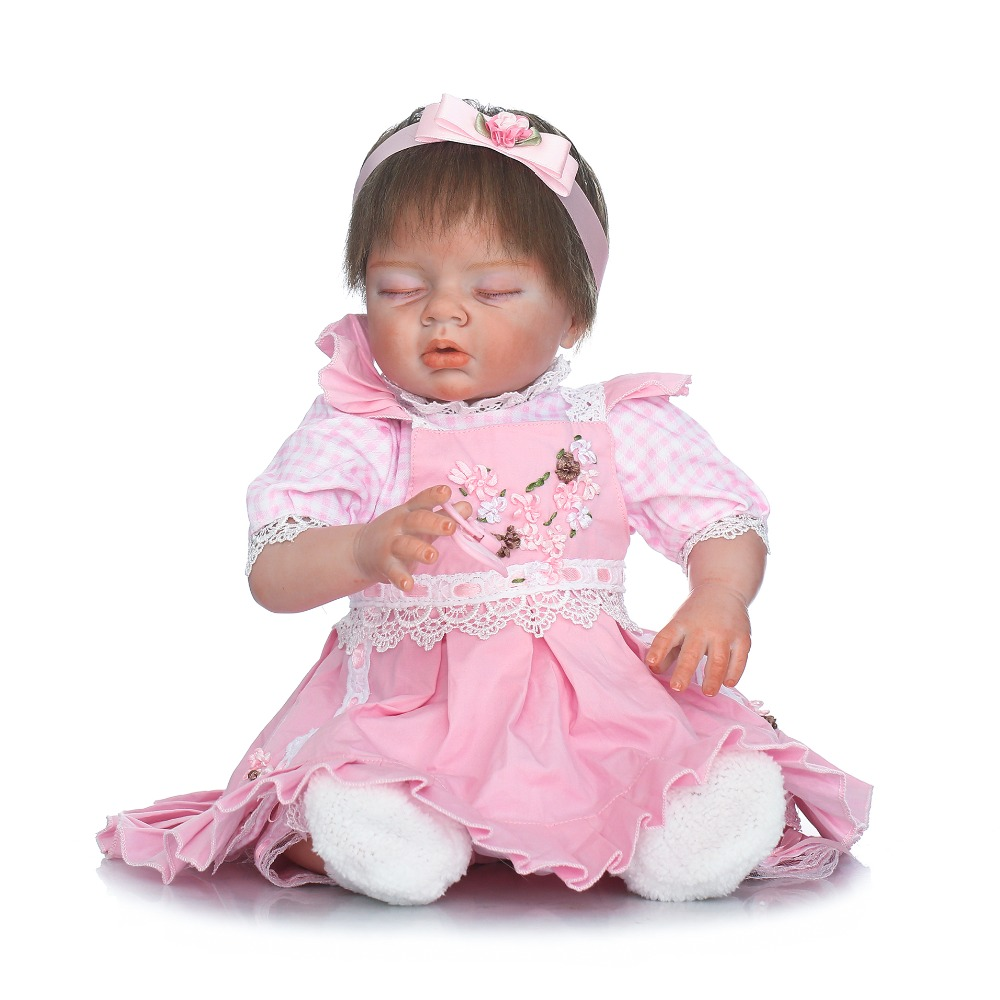 55cm Silicone Reborn Sleeping Baby Girl Doll Toys Lifelike 22inch Princess Newborn Babies Doll Fashion Birthday Gift Present lifelike american 18 inches girl doll prices toy for children vinyl princess doll toys girl newest design