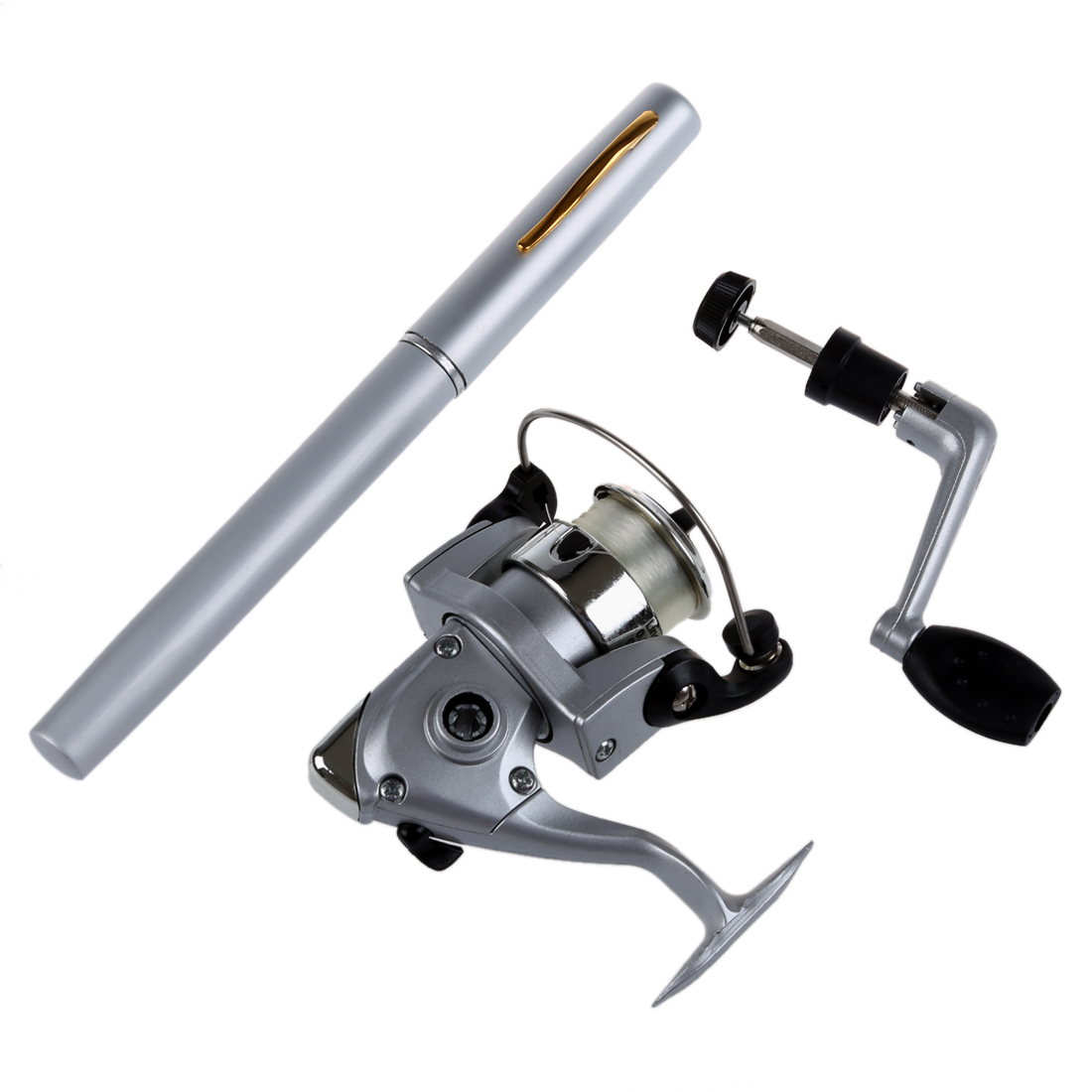 Saltwater Fishing Tackle Pen Shape Rod Pole & Reel Combos(silver)