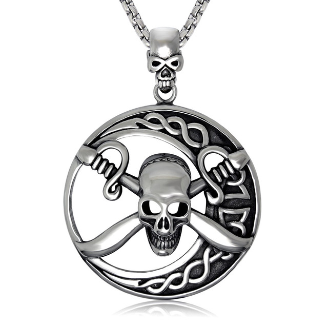 Gtico Negro Esmalte 316l Tribal Skull Pirata Y Cruce Espadas Collar