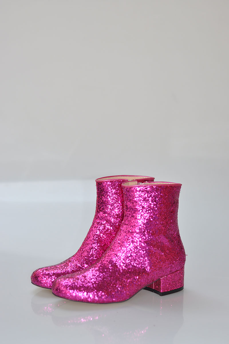 Hot Pink Bling Glitter Women Fashion Ankle Boots Round Toe Ladies Zipper  Martin Boots Low Heel Spring Sexy Boots Size 40 6619447ddaba