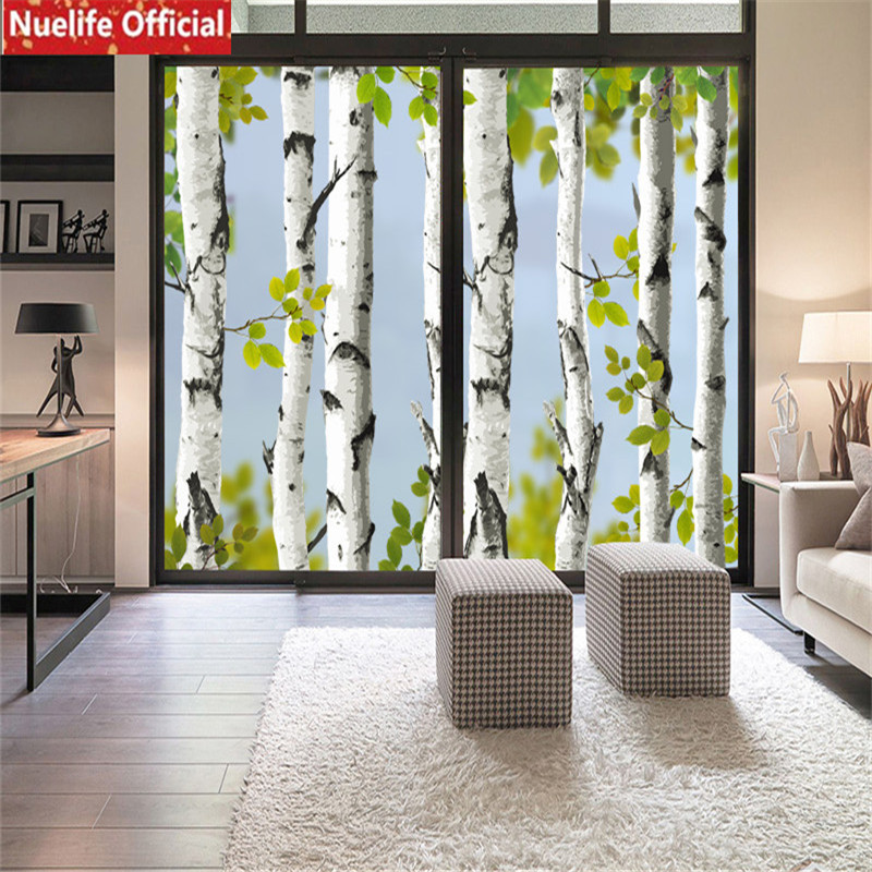 Color birch pattern electrostatic glass film living room bedroom bathroom kids room kindergarten sliding door pvc window film