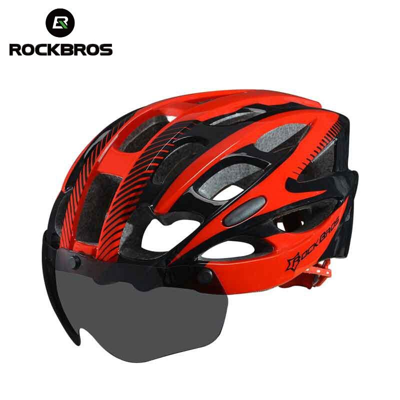 ROCKBROS自転車EPSヘルメットレンズ付き一体成型28通気孔サイクリングバイク用機器ヘルメットCasco Ciclismoフリーサイズ