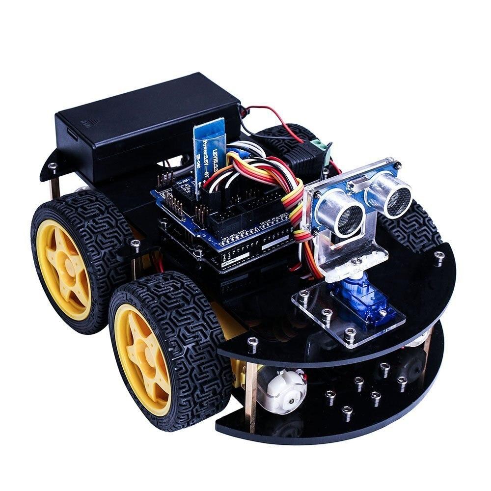 Умный робот автомобильный комплект для DIY UNO R3 с ультразвуковой Сенсор/Bluetooth модуль/пультом управления и учебник CD