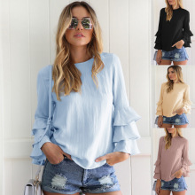 Sexy Deep V-Neck Ruffled Chiffon Shirts Retro  Sleeve Pleated Blouses Splice Flounce Thin Transparent flounce sleeve gingham top