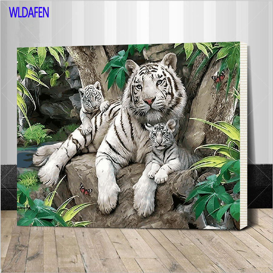 Framed Three Lazy Tigers Picture Painting By Numbers Hand Painted Oil Paintings For Home Living Room Wall Decoration SZ1-DW23