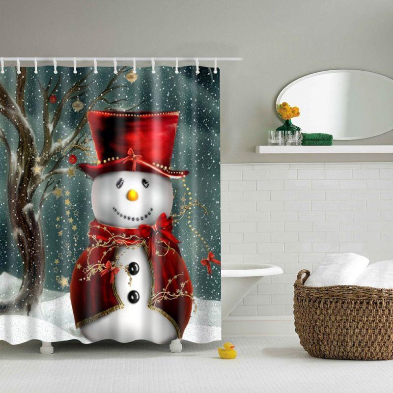 Christmas Sleepy Snowman Elk Deer Santa Claus Pattern Waterproof Bathroom Curtain Home Shower Merry