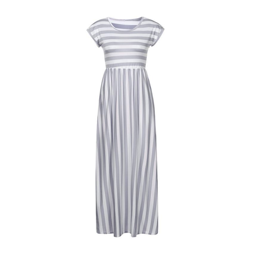 f4e9d23204bf vestidos verano 2018 dress women Elastic Waist Striped Maxi Dress Short  Sleeve Boho Beach Dress Sundress Casual Shift Dresses-in Dresses from  Women's ...