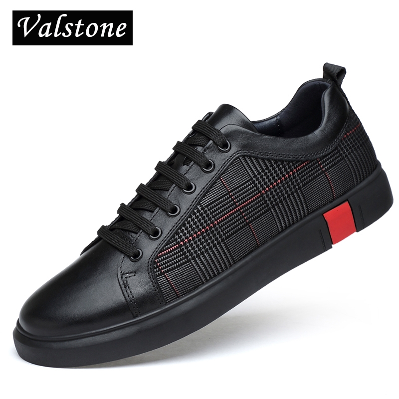 Valstone Quality Genuine leather shoes men 2018 Spring luxury leather sneakers designer shoes zapatillas hombre large