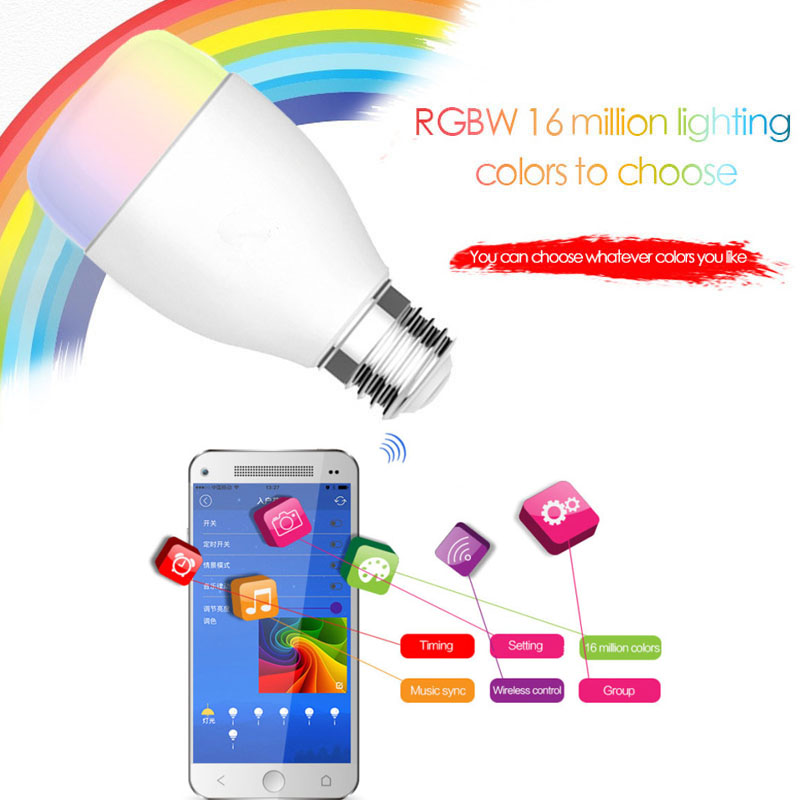 WIFI LED Light Bulb 6W E27 240V Wireless Home Automation Dimmable Musical Colorf