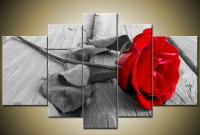 Red Grey Rose Modern Abstract Painting On Canvas Wall Art Canvas Oil Painting Flower Decor Picture