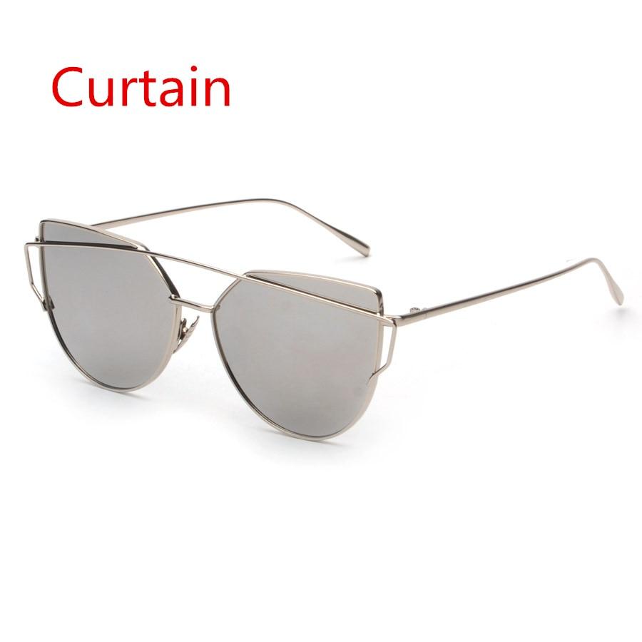 2019 Fashion Cat Eye Solglasögon Kvinnor Brand Designer Flat Top Mirror Metal Frame Solglasögon för kvinnor Oculos De Sol UV400 A888