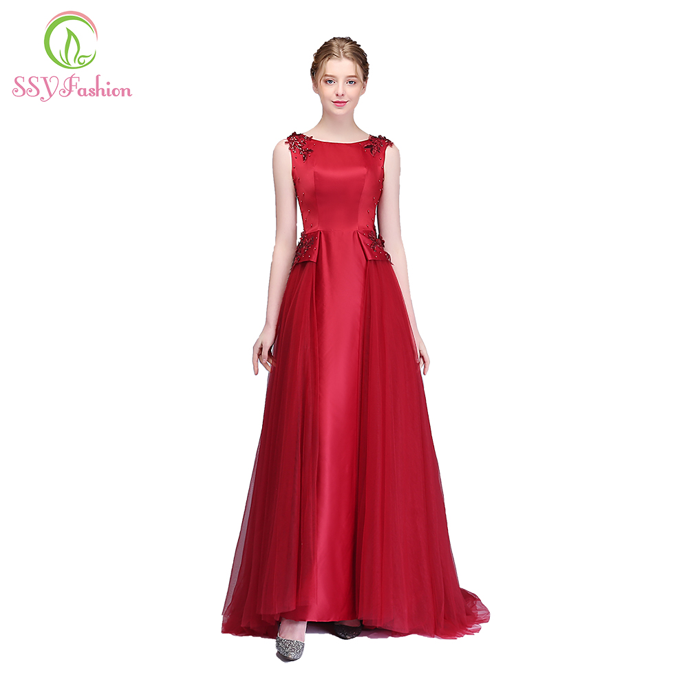 SSYFashion New Banquet Elegant Evening Dress Wine Red Satin Lace Appliques Prom Party Formal Gown Robe De Soiree Reflective Dres