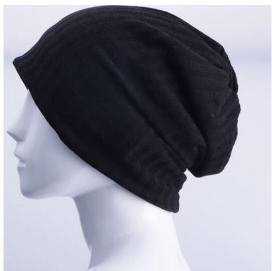 Hombres y mujeres de gran tamaño de punto Baggy Beanie Hat slouchy larga de doble capa gorro de invierno
