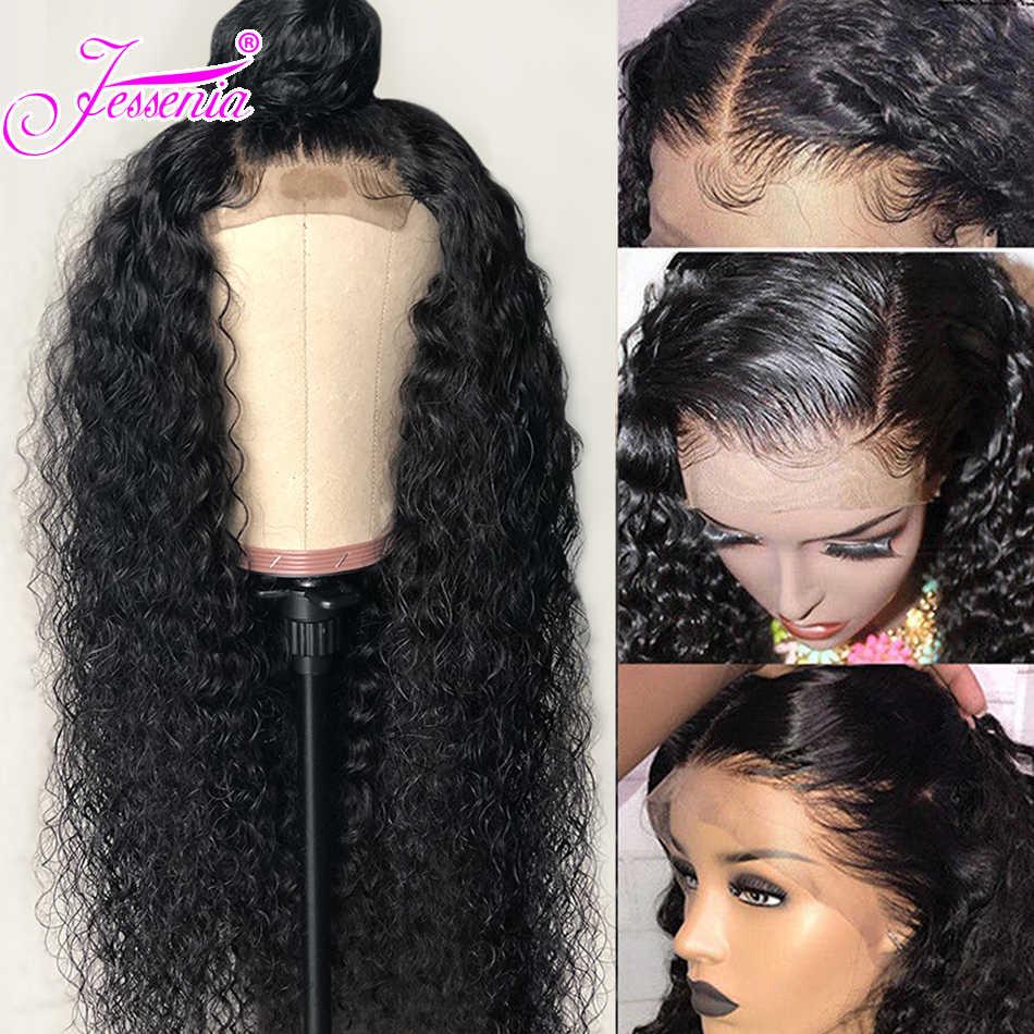 Kręcone ludzkie włosy peruki malezja Remy włosy 13*4 koronki przodu włosów ludzkich peruk grube końce z dzieckiem włosy bielone węzłów