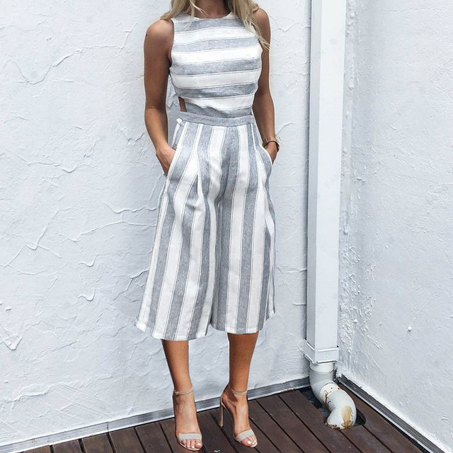 afcc1d1ba18 O-neck Off Shoulder Striped Jumpsuits Rompers Long Wide Leg Pants Women  Sleeveless Sexy Backless Playsuits Plus Size Overalls