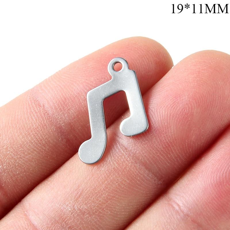 Semitree 10pcs Stainless Steel Music Note Pendants