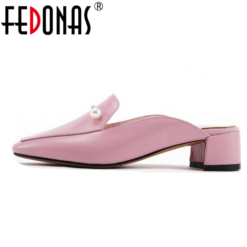 все цены на FEDONAS New Arrival Women Office &Career Mules Shoes Genuine Leather Spring Autumn Square Toe Office Lady Shoes Woman Pumps онлайн