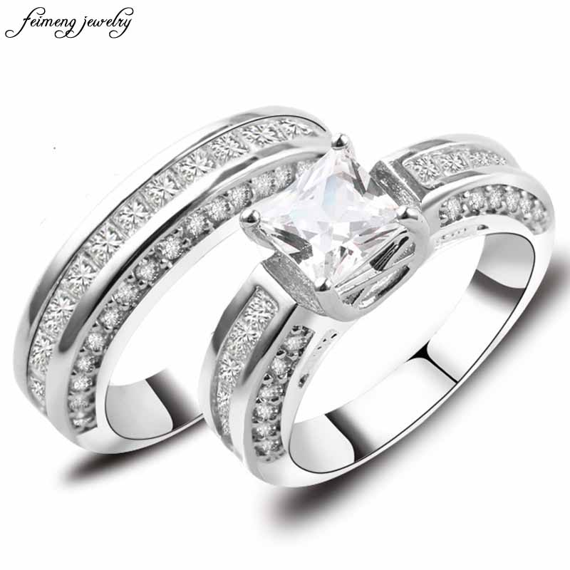 Crystal White AAA Zircon Men Womens Ring Set White Gold Filled Wedding Engagement Rings Top Quality Fashion Jewelry Full Size