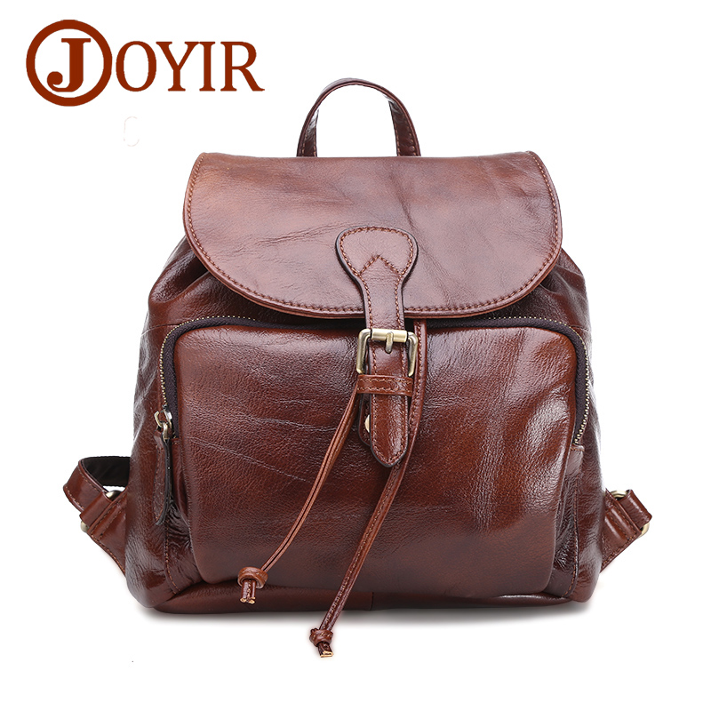 JOYIR New Designer Genuine Leather Cowhide Women Backpack Fashion Travel Bag Solid Bags For Ladies Casual Woman Small Bag 8220