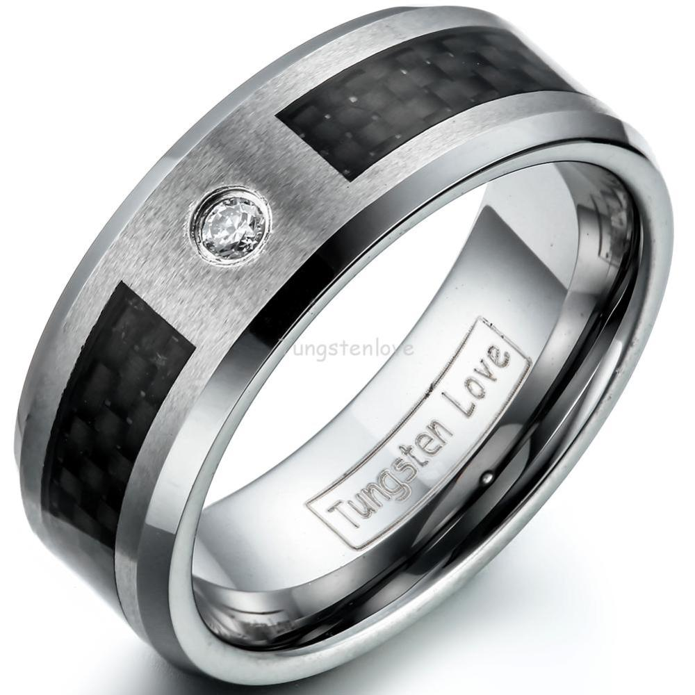 carbon fiber wedding bands Black and blue Carbon Fiber Tungsten Ring Blue Diamond Mens jewelry Wedding Band eBay