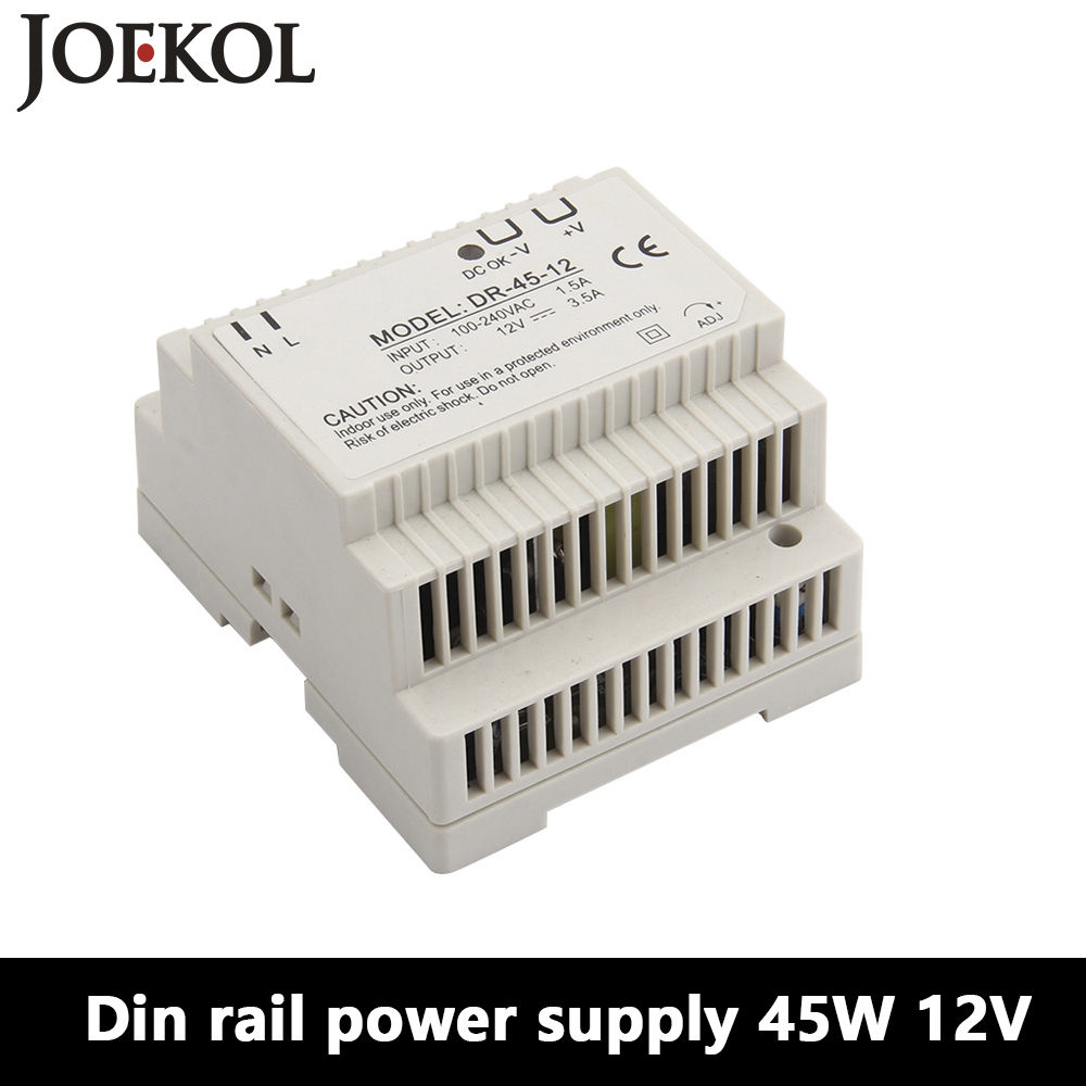 DR-45 Din Rail <font><b>Power</b></font> <font><b>Supply</b></font> 45W <font><b>12V</b></font> <font><b>3.5A</b></font>,Switching <font><b>Power</b></font> <font><b>Supply</b></font> AC 110v/220v Transformer To DC <font><b>12v</b></font>,ac dc converter image
