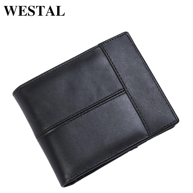 WESTAL plånbok manlig äkta läder kort plånbok män Vintage Cow - Plånböcker - Foto 3