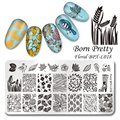 BORN PRETTY Leaves Template Stamping Plate Floral Rectangle Manicure Nail Art Image Plate BPX-L018