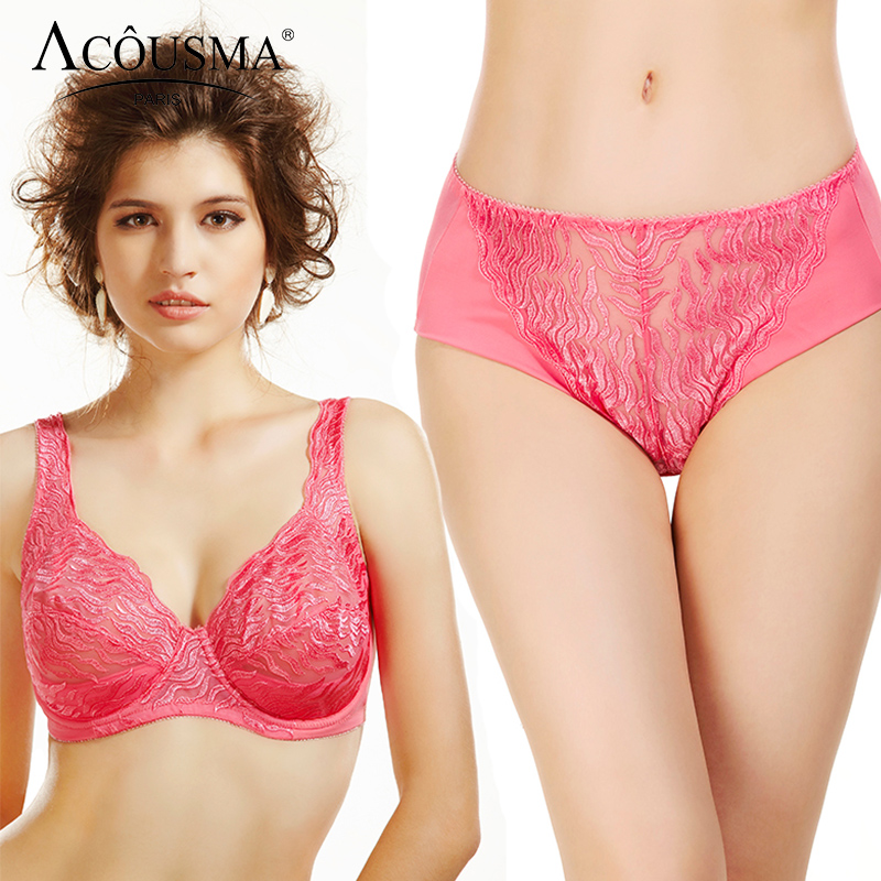 ACOUSMA Women Plus Size 75 80 90 95 D E Cup Push Up Brassiere   Set   Sexy Ladies Lace Floral Embroidery Transparent   Bra     Brief     Sets