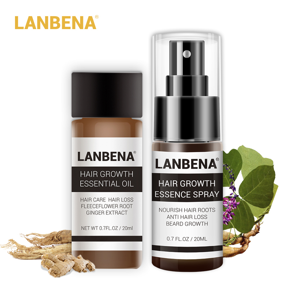 LANBENA 2PCS Anti Hair Loss Products Set Ginseng Powerful Hair Growth Essence Oil+Spray Consolidating Nourish Roots Hair Care