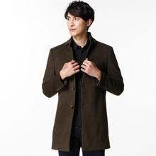 Качество Траншеи Пальто Мужчины Мода Англия Стиль Манто Homme человека Однобортный Длинное Пальто Шерстяное Пальто Роскошный Плащ