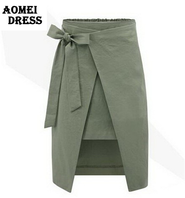 Women Autumn Summer Irregular Skirts Bow European Plus Size Skirt Office  Ladies Army Green Blue Jupe Clothing Faldas Mujer