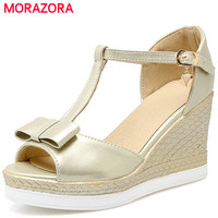 Morazora/женские пикантные женские босоножки на платформе на высоком каблуке туфли с пряжкой модная Милая Летняя обувь с открытым носком разме...