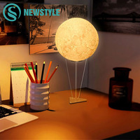 Creative 3D Print LED Moon Night Light RGB LED Moon Lamp Novelty Light For Bedroom Bookcase