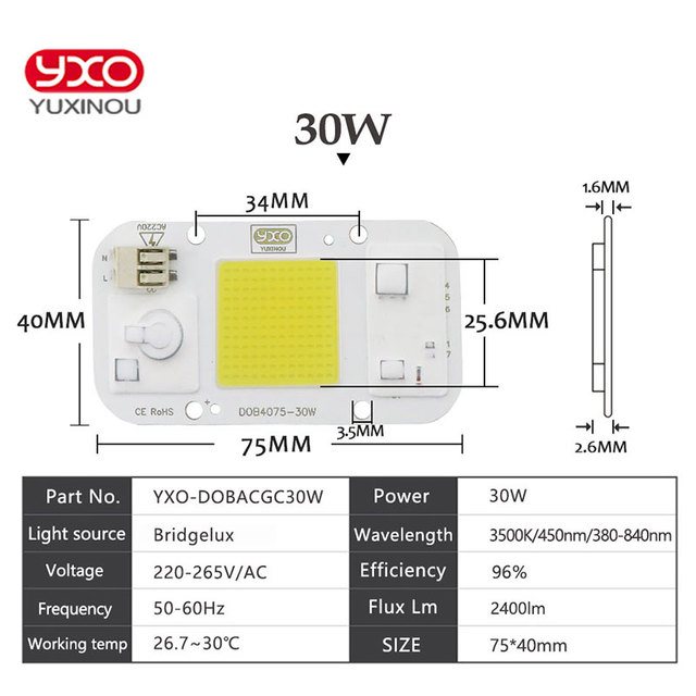 COB Spotlight AC110V/220V DOB Led Bulb Chip Beans Smart IC 20W 30W 50W Energy Saving Outdoor Lamp White/Warm Supper Bright Light
