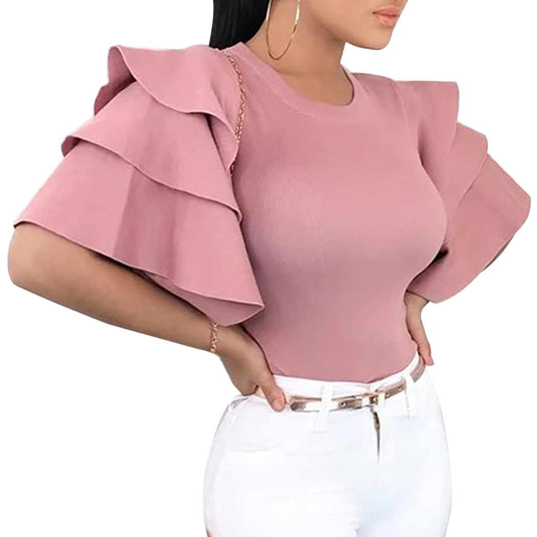 Women's Clothing Ladies Basic Elastic Satin Lace Round Neck Long-sleeved Shirt Blouses Sexy Women Tops Shirt 2019 Autumn Fashion Clothing