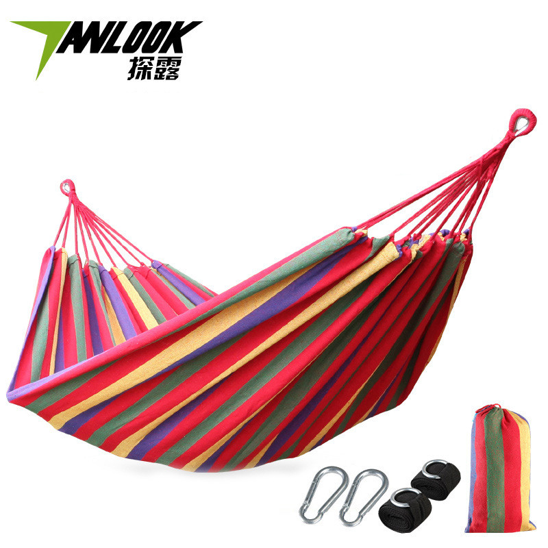 Camping & Hiking Camp Sleeping Gear Outdoors Portable Camping Parachute Sleeping Double Hammock Garden Swing Hammock Hanging Bed Travel Camping Swing Canvas Stripe