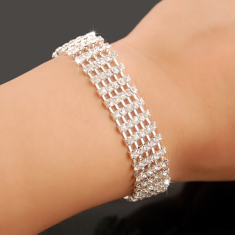 High Quality 925 Sterling Silver Charm Bracelets Women Fashion Rhinestone <font><b>Crystal</b></font> Chain Bracelets Fine Jewelry image