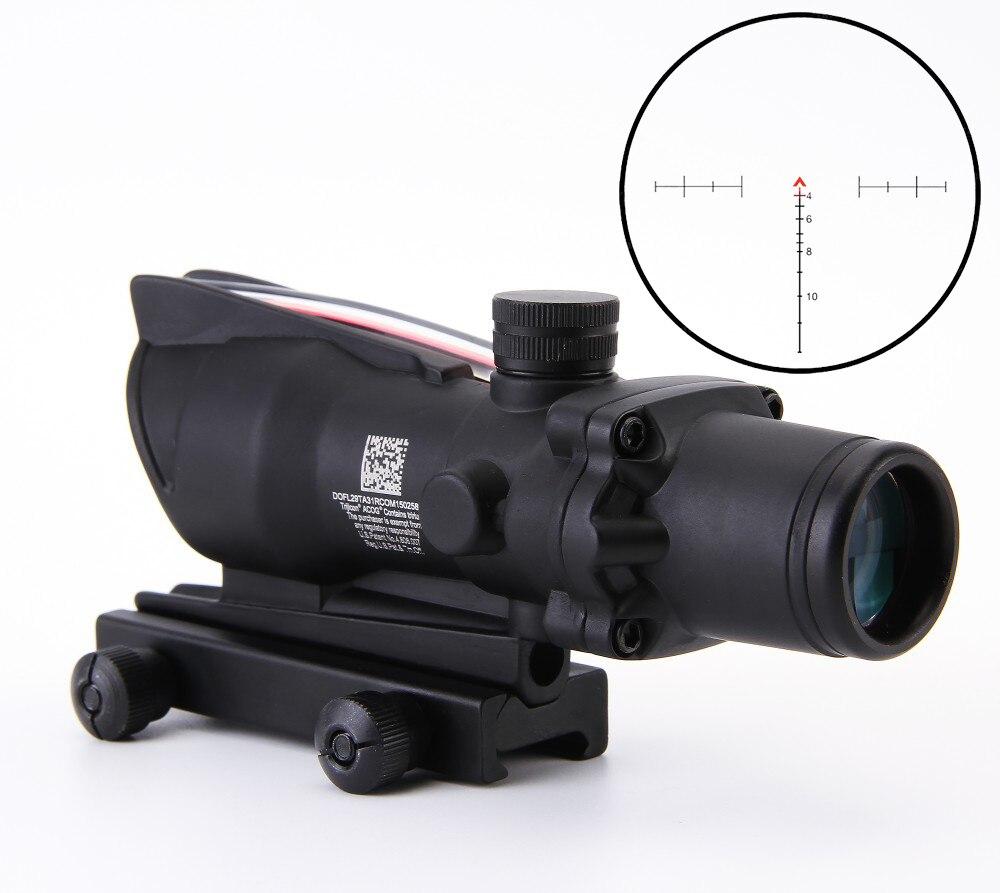 4x32 Acog Riflescope 20mm Dovetail Reflex Optics Scope Tactical Sight Rifle W Tri Illuminated Chevron Recticle
