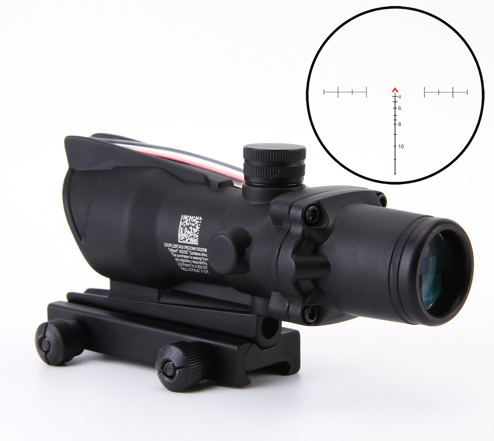 Lunette de visée 4x32 Acog 20mm lunette optique réflexe en queue d'aronde fusil de visée tactique avec Source de Fiber de réticule à chevrons Tri-éclairé