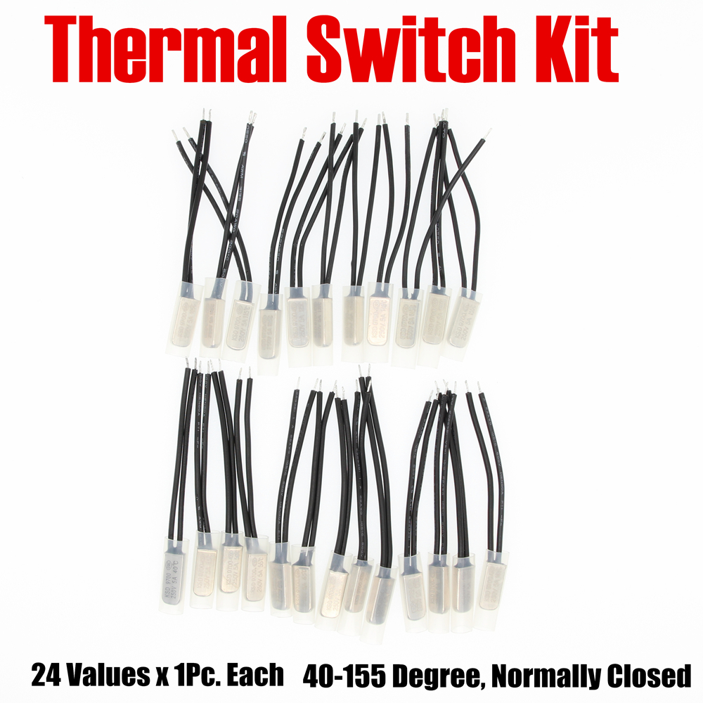 PHISCALE Metal Temperature Control Switch Kit 24Values x 1Piece 40-155 Degree Normally Closed KSD9700 250V AC 5A цена