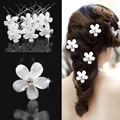 20 pieces / Lot Fashion U Shape Crystal Hair Fork Flower Hair Pin Sticks For Women Wedding Bridal Hair Accessories Jewelry